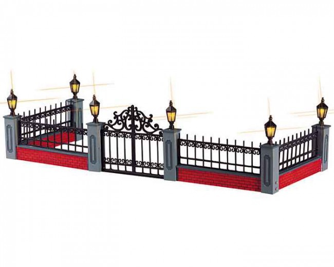 Lighted Wrought Iron Fence