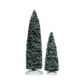 Lemax Snowy Juniper Tree, Large & Medium 2 pc