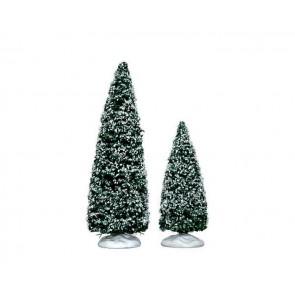 Lemax Snowy Juniper Tree, Medium & Small 2 pc