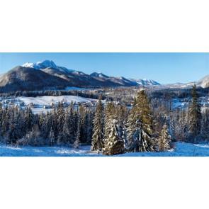 My Village Achtergrond Doek Winterdorp 150 x 75 cm