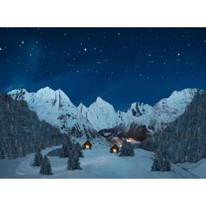 My Village Achtergrond Doek - Berglandschap Nacht 76X56cm